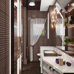 Лаконичный интерьер для маленькой ванной Студия дизайна ROMANIUK DESIGN Ванная комната в стиле минимализм