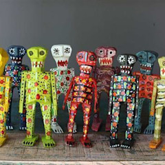 Hand Carved Mexican Wooden Skeletons Vintage Archive ArtworkOther artistic objects
