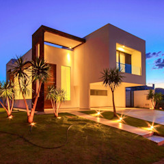 Perspectiva noturna Santos Arquitetura Casas de estilo minimalista