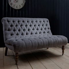 Grey Button Back Two-Seater Chair Primrose & Plum リビングルームソファー&アームチェア