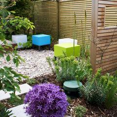 Modern English Garden - stool lights and garden speaker Rosemary Coldstream Garden Design Limited Jardines de estilo moderno