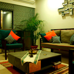 Residence at Raheja, Powai JRarchitects Salas de estilo asiático