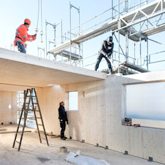 """woodcube Hamburg - """"Ökologisch sinnvoll – CO2-neutral – Bauen"""" architekturagentur Moderne Wände & Böden"""