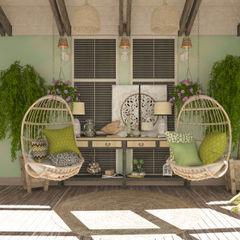 Студия дизайна Дарьи Одарюк Balcones y terrazas de estilo mediterráneo Multicolor