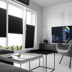 CC /_\ CONCRETE CONCEPT by KASIA ORWAT home design WERONIKA TROJANOWSKA photographer Minimalistyczny salon Szary