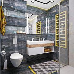 Студия дизайна ROMANIUK DESIGN Baños de estilo industrial Gris