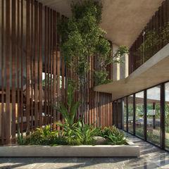 CARCO Arquitectura y Construccion Modern Corridor, Hallway and Staircase Solid Wood Beige