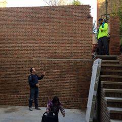 Before - constructing the garage, above the garden Jane Harries Garden Designs