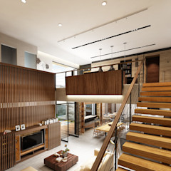 Juxta Interior Tropical style corridor, hallway & stairs