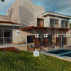 E+J Arquitectos Mediterraner Balkon, Veranda & Terrasse Holz Beige