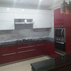 kitchen n Acrlyic finish Grey-Woods KitchenCabinets & shelves Engineered Wood Red