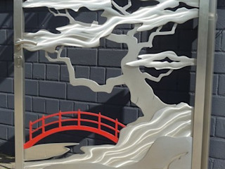 "Stainless Steel Gates ""Japanese Gate"" Edelstahl Atelier Crouse: 庭院"