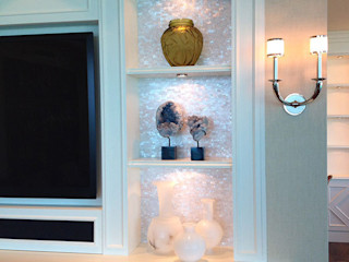 Pure White Seamless Brick Freshwater Back Lit Mother of Pearl Mosaic Panels ShellShock Designs Modern living room