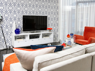 Hells Kitchen Penthouse Bhavin Taylor Design Ruang keluarga: Ide desain interior, inspirasi & gambar