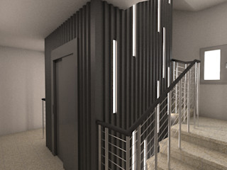 Q:NØ Arquitectos industrial style corridor, hallway & stairs.
