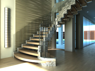Siller Treppen/Stairs/Scale 玄關、走廊與階梯階梯 木頭 Metallic/Silver
