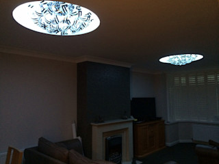 Ceiling with circles built in Lancashire design ceilings Woonkamer