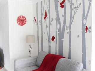 Birch tree forest wall sticker with red birds Vinyl Impression Paredes y pisosDecoración para la pared