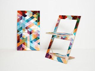 Folding Chair Fläpps – Criss Cross Red AMBIVALENZ ComedoresSillas y banquetas Contrachapado Multicolor