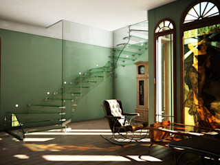 All glass stairs with artistic glass railing Siller Treppen/Stairs/Scale 樓梯 玻璃 Black