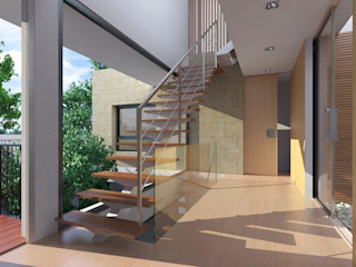 NUÑO ARQUITECTURA Modern Corridor, Hallway and Staircase Wood Brown