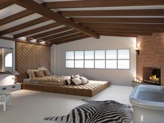 Perspectivas 3D - Diseño de una habitación Realistic-design Dormitorios de estilo colonial