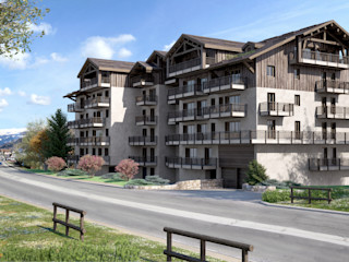 Perspectivas 3D de un edificio Realistic-design Casas de estilo clásico
