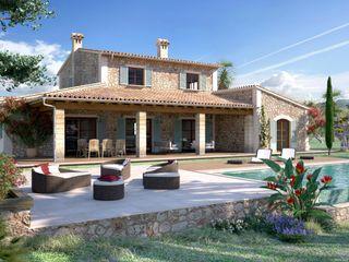 Perspectiva 3D de casa estilo rustico Realistic-design Casas de estilo rústico