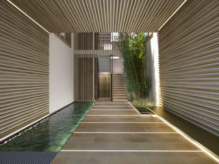 Perspectivas 3D de un proyecto de edificio de viviendas Realistic-design Pasillos, vestíbulos y escaleras de estilo moderno