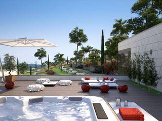 Perspectivas 3D - Terrazas Realistic-design Balcones y terrazas de estilo moderno