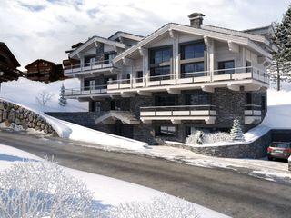 Perspectivas 3D de chalets en la nieve Realistic-design Casas de madera