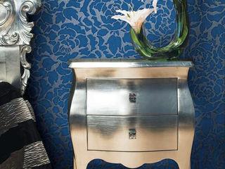 Blumentapete EDEM 830-27 Deluxe kunstvolle florale Struktur Pfingstrose Blumen ton-in-ton azur-blau silber-grau e-Delux GmbH SchlafzimmerAccessoires und Dekoration