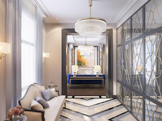 Anna Clark Interiors Classic style corridor, hallway and stairs