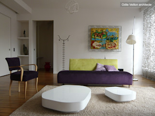 LOFT R - PARIS XI Agence d'architecture Odile Veillon / ARCHI-V.O Modern Living Room