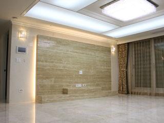 신개념 대리석마루 뉴이지스톤을 사용한 수원 광교 삼성래미안 아파트 리모델링 (주)이지테크(EASYTECH Inc.) 모던스타일 거실