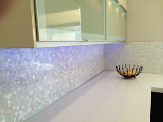 Pure White Freshwater Mother of Pearl in Crazy Pattern Panels. ShellShock Designs Modern bathroom