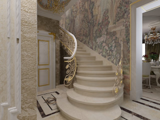 Студия дизайна Натали Хованской Classic style corridor, hallway and stairs