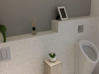 Pure white Freshwater Mother of Pearl mosaics used by our partner, Inca Design ShellShock Designs Modern bathroom