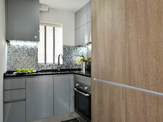 Apartment decorated in Black lip herringbone pattern and natural freshwater Mother of Pearl mosaics ShellShock Designs Modern kitchen