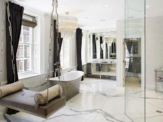 Dressing room and bathroom finished using Mother of Pearl by Cocovara Interiors, London, UK ShellShock Designs Classic style bathroom