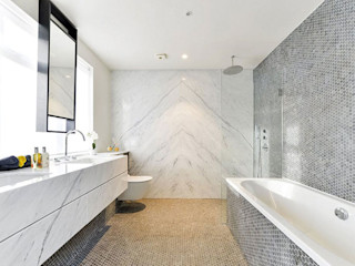 Dyed and pure white hexagon freshwater Mother of Pearl mosaics used by Investre ShellShock Designs Modern bathroom