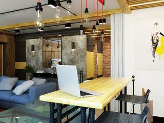 Apolonov Interiors Industriale Wohnzimmer
