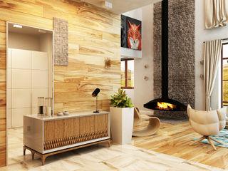 Apolonov Interiors Minimalistischer Flur, Diele & Treppenhaus