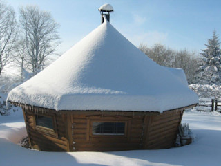 Snowy cabins and real fires! Arctic Cabins Scandinavian style garden