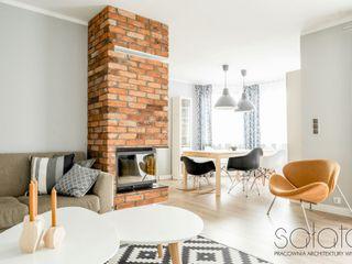 Dom jednorodzinny, Maszewo. Sałata-Pracownia Architektury Wnętrz Skandynawski salon