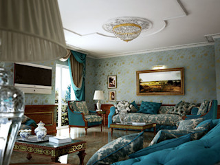 Dining and Living Room 3D Render&Beyond Salones de estilo clásico