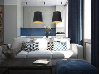 Дизайн квартиры г.Москва NK design studio Гостиная в скандинавском стиле