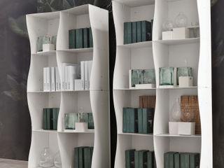 Iron-ic modular bookcase, varnished White finishing Ronda Design اتاق نشیمنمیز و کابینت تلویزیون