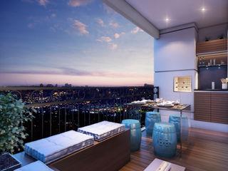 Lodo Barana Arquitetura e Interiores Modern balcony, veranda & terrace
