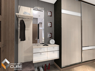 Лаборатория дизайна 'КУБ' Minimalist corridor, hallway & stairs